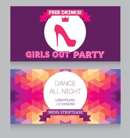 girls night out: Template for Ladies night party flyer, vector illustration
