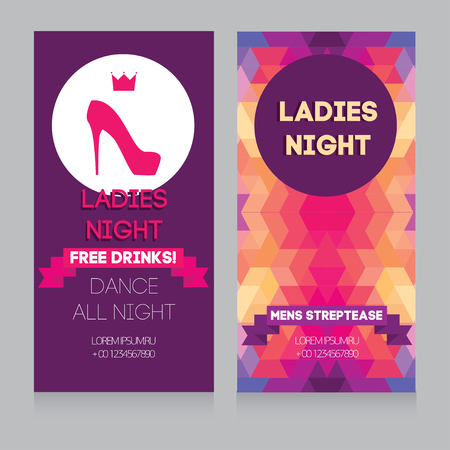 Girls only party banner, vector illustration template Illustration