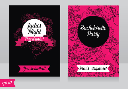 Cards template for ladies bachelorette party Illustration