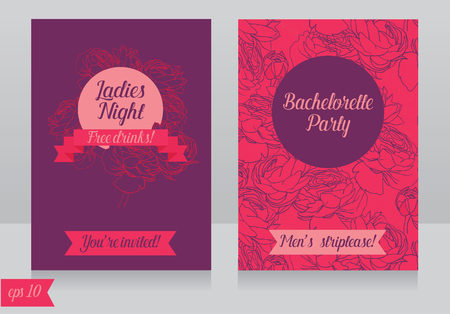 girls night out: Cards template for ladies bachelorette party Illustration
