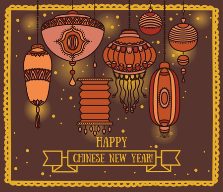 middle: Greeting card for chinese new year, lantern decoration, vector illustration