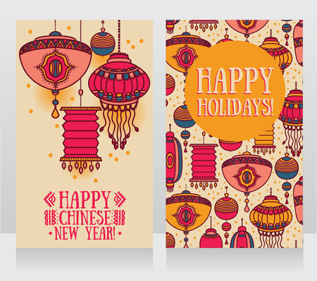 two beautiful banners for chinese new year lantern decoration vector illustration