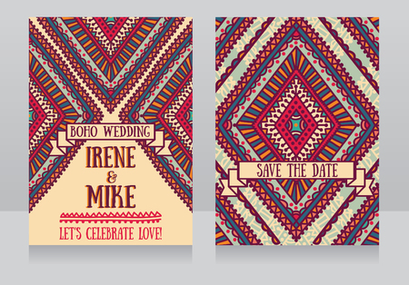 Wedding cards in boho style, vector illustration Illustration