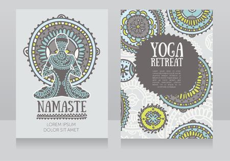 Cards template for yoga retreat or yoga studio, lotus asana and colorful doodle mandala, vector illustration