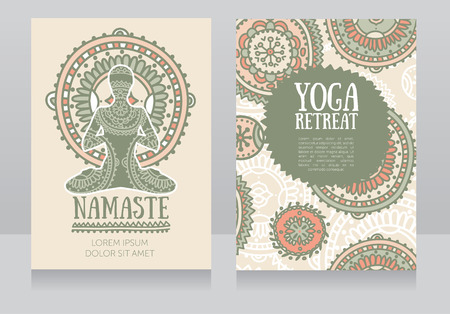 Cards template for yoga retreat or yoga studio, lotus asana and colorful doodle mandala, vector illustration
