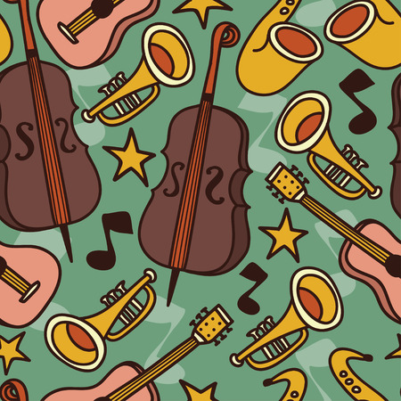 old fashioned: Seamless background with musical instruments, jazz or blues music, vector illustration