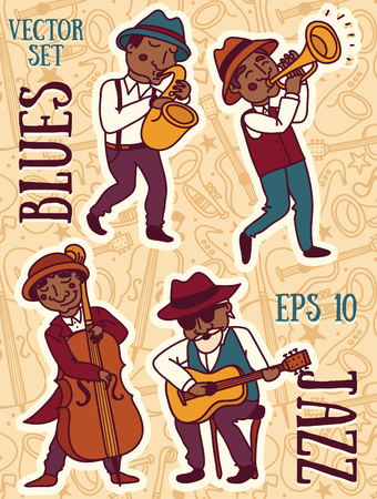 Set of vector illustrations: cute doodle musicians in 1920s style, jazz or blues music band