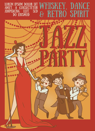 Card template for retro night, silhouette of jazz band on party poster, vector illustration Illustration