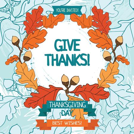 thanksgiving card template, cute party invitations, vector illustration Illusztráció