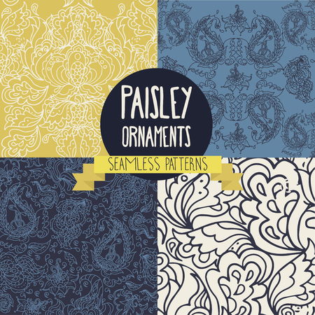 victorian wallpaper: Set of four textures with paisley ornament, illustration. Illustration