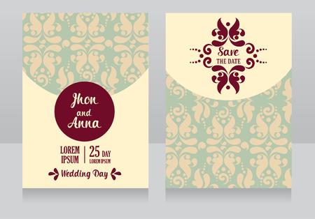 romantic date: Classical style wedding invitations vector illustration
