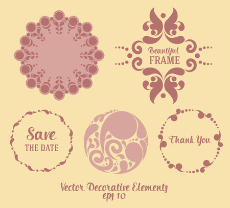 romantic date: Set of decorative elements for wedding: frames, text and napkin, vector illustration
