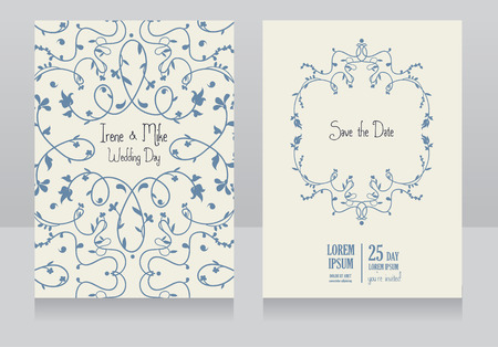 romantic date: Two floral wedding cards, beautiful design, can be used as banner for wedding of florists shop, vector illustration