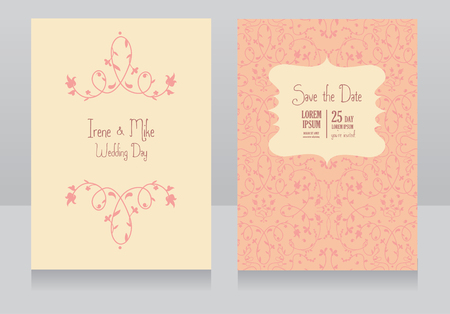 ceo: Two floral wedding cards, beautiful design, can be used as banner for wedding of florists shop, vector illustration