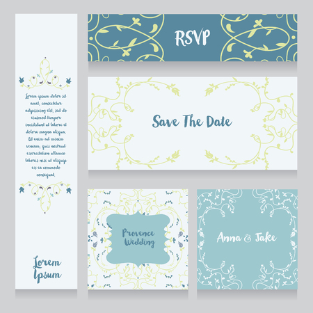 romantic date: collection of beautiful floral wedding cards, vector illustration