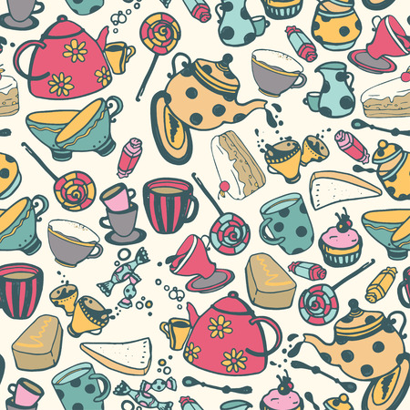 Choses de thé de style dessin animé