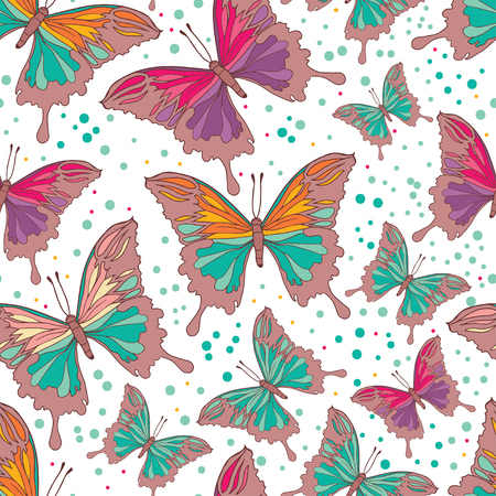 collect: Pattern of colorful butterflies Illustration