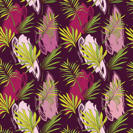 Pattern with palm leaves illustration Ilustrace