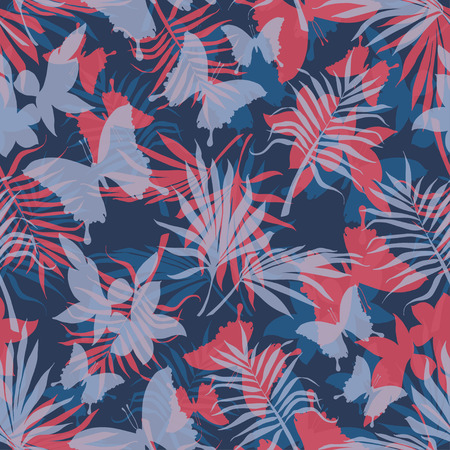 Seamless pattern tropical flowers and butterflies, vector illustration 矢量图像