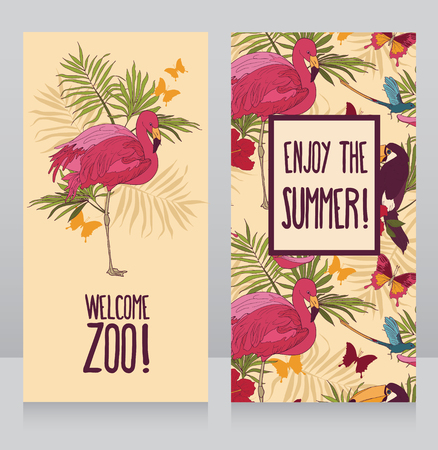cards for summer holidays, can be used as invitation for summer party, vector illustration Ilustração