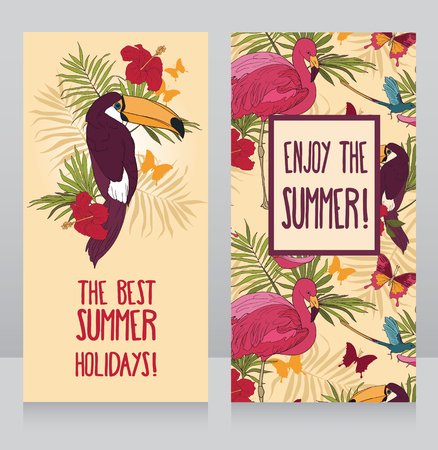 cards for summer holidays, can be used as invitation for summer party, vector illustration Banco de Imagens - 86473220