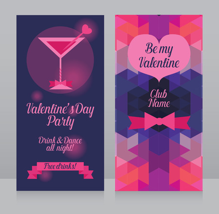 banners templates for valentine's day party, front and back side, vector illustration Ilustração