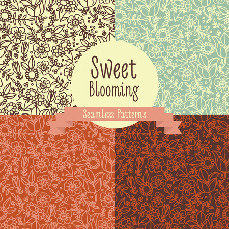 set of floral seamless patterns, folkloric style, vector illustration