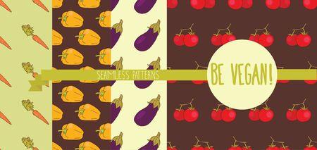 Set of four seamless textures with vegetables Reklamní fotografie