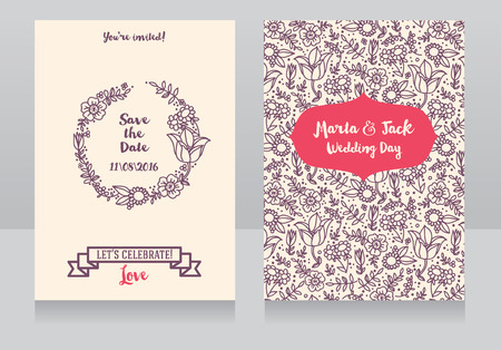 provence: Beautiful floral wedding invitation, provence design, vector illustration