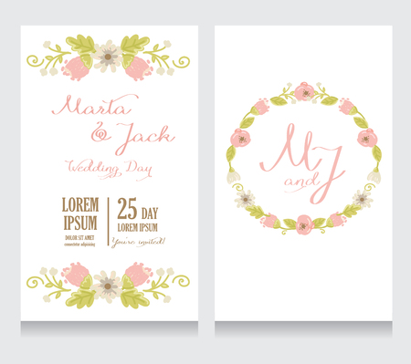 provence: Beautiful floral wedding invitation, vector illustration
