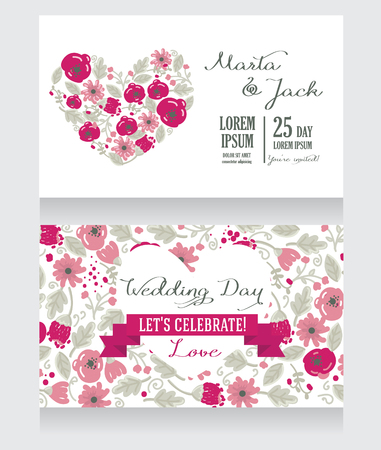 Beautiful floral wedding invitation, vector illustration
