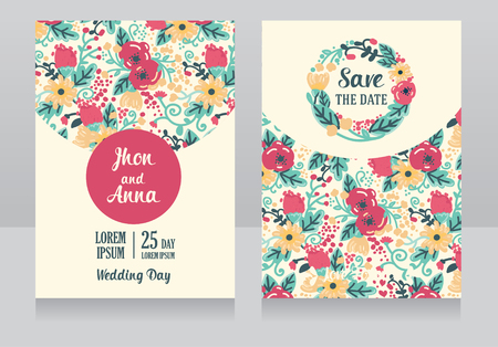provence: Two wedding cards in folk style, flowers design, vector illustration Illustration
