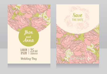 provence: Two wedding cards in romantic style, roses design, vector illustration