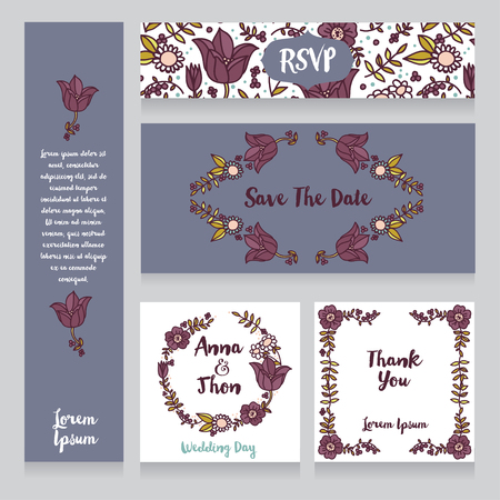 provence: collection of beautiful floral wedding cards, vector illustration