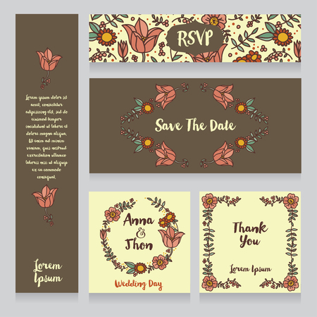 provence: Collection of beautiful floral wedding cards vector illustration.