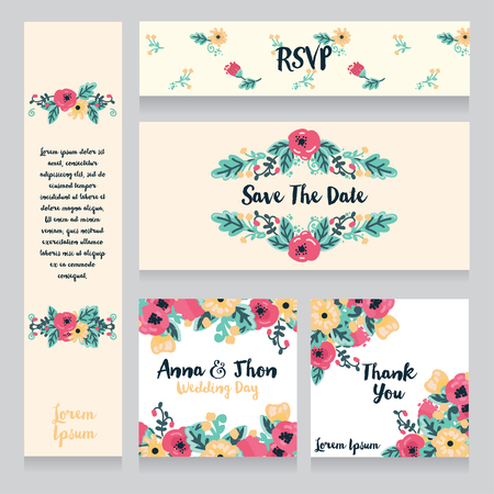 provence: A collection of beautiful floral wedding cards, vector illustration. Illustration