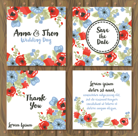 provence: Floral wedding cards on a wooden background, country style design, vector illustration