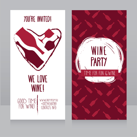 invitation for wine party, can be used as template for wine shop banners, vector illustration