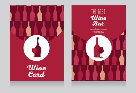 Wine card template, hand drawn design with place for text, can be used us wine party invitation, vector illustration