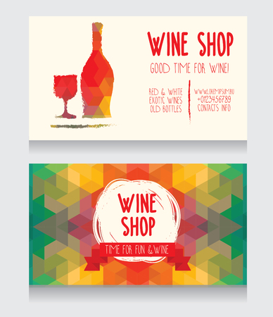 provence: Invitation for a wine party, can be used as template for a wine shop business card, colorful geometric design, vector illustration