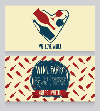 Wine card template, hand drawn design, can be used us wine party