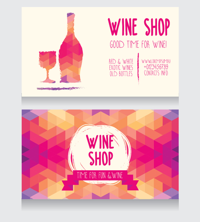 Invitation for a wine party, can be used as template for a wine shop business card, colorful geometric design, vector illustration