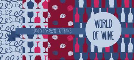 provence: Set of hand drawn seamless backgrounds with bottles and glasses for wine,
