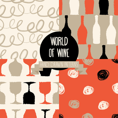 provence: Set of hand drawn seamless backgrounds with bottles and glasses for wine, world of wine patterns, vector illustration Illustration