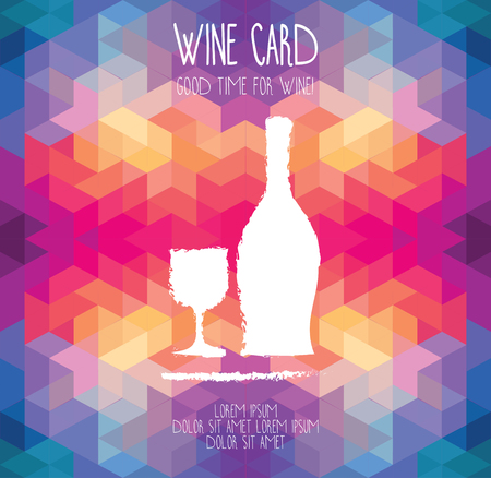 Wine card template, hand drawn wine bottle on geometric background, can be used us wine party invitation, vector illustration