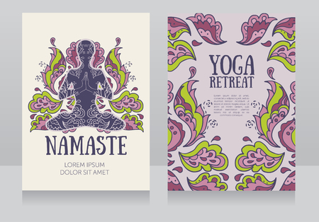 aura energy: two banners for yoga retreat or yoga studio with beautiful fantasy ornament, vector illustration