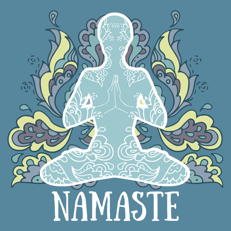 Namaste banner, human in lotus asana with paisley ornament, vector illustration Illustration