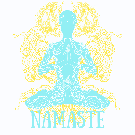 aura energy: Namaste banner, human in lotus asana with paisley ornament, vector illustration Illustration