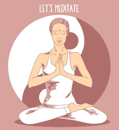 healing: Beautiful woman sitting in lotus asana and meditate, vector illustration