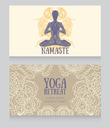 aura energy: Two banners for yoga retreat or yoga studio with beautiful fantasy ornament, illustration